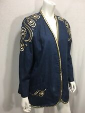 Jean Blazer large Jacket Embellished Rhinestones Gold Trim Roni Blanshay Women