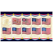 "Patriotic American Flag USA Cotton Fabric QT Long May She Wave 24""X44"" Panel"