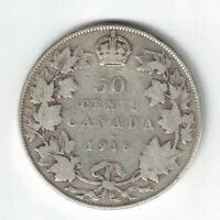 CANADA 1916 50 CENTS HALF DOLLAR KING GEORGE V STERLING SILVER CANADIAN COIN