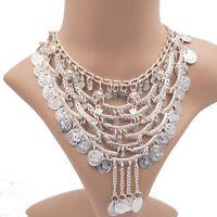Collier Halskette mit Münzen Kette Bollywood Bellydance Bauchtanz Party silber