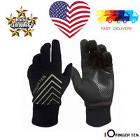 Winter Gloves Waterproof Men's Fleece Warm Touch Screen Full Finger Mitten Black