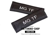 "2x Seat Belt Covers Pads Black Leather ""MG TF"" White Embroidery for MG TF"
