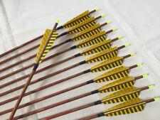 "12pcs pure carbon arrow wood skin spine500 Id6.2 5""turkey feather"