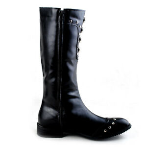 Fashion Mens Metal Chain Rivets Pointed Toe Shoes Zip Side Knee High Riding Boot