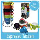 Espresso Set 6 teilig bunt Tassen Kaffeetassen Metallständer Becher Geschenk