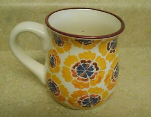 Pioneer Woman Pot Belly Mug 20 Ounces Orange Flowers AS IS