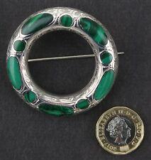 Scottish agate hardstone Malacite plaid brooch