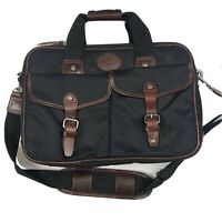 FILSON Two Buckle Twill Padded Black Brown Leather Computer Bag