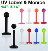 "1PC. 16g~1/4"", 5/16"" Flexible Acrylic Labret Monroe Tragus with 3mm UV Ball"