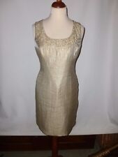 MINUET PETITE GOLD  DRESS -WITH PEARLS- SIZE UK 14