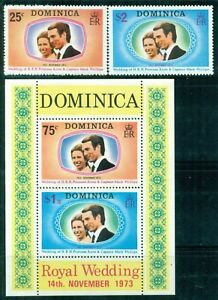 DOMINICA 372-73a SG394-95,MS396 MH 1972 Royal Wedding set of 2+MS+Sheets Cat$5