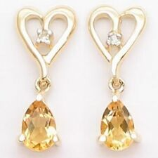 Citrine Natural Yellow Gold Fine Earrings