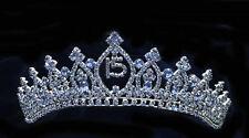 "Blue Rhinestones Tiara Sweet 15 Quinceanera With Combs.Tiara Blue. 2 "" Height."
