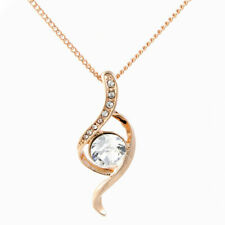 Rose Gold Aspire Lg Crystal Pendant Chain Necklace Womens Jewellery Wedding Gift