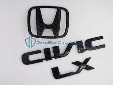 Honda Civic LX Carbon Fiber Emblem Set OEM 2001-2005 Rear Trunk Lid Badge Logo