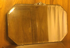"Vintage 8-Sided 13"" x 22"" Beveled Glass Mirror With Metal Topper"