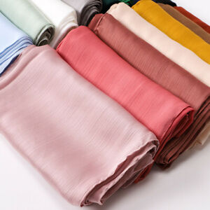 Women's Scarf Crinkled Satin Silk Hijab Long Solid Color Hijabs Scarves Shawls