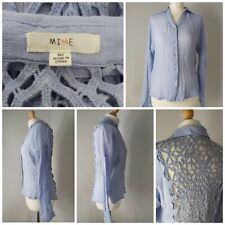 Anthropologie Mine Dusky Baby Blue Crocket Cut Out Loose Button Shirt Blouse M