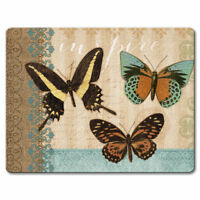 Tempered Glass Cutting Cheese Board 8x10 Butterflies & Burlap Butterfly Inspire