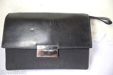Vintage GUCCI Black Nylon Leather Wristlet Handbag Unisex Clutch Bag