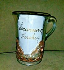 Antique Souvenir Of Hershey Clear Glass Mug W Gold Lettering & Design
