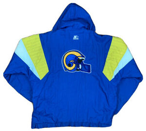 VTG Los Angeles Rams Starter Half Zip Blue/Gold Hooded Jacket Men's XL NFL LA