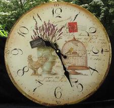 # M03- Wanduhr Uhr Landhausuhr Lavendel Frankreich Provence Vogelkäfig