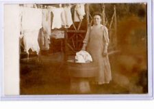 Real Photo Postcard RPPC - Woman Doing Laundry Outdoors