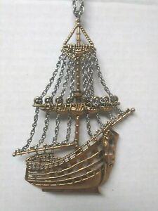 Vintage Pirate Clipper Ship  Necklace Mermaid Figurehead Nautical Boat
