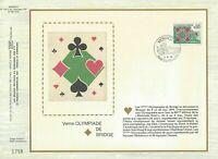 FEUILLET CEF 1er JOUR MONACO V éme OLYMPIADE DE BRIDGE 1976 SUR SOIE
