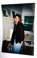 Vintage 90s PHOTO Tall American Woman In Flannel Button Up Sweater & Jeans