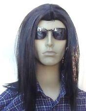 Men's Long Black  fancy Dress Wig (Middle Parting)