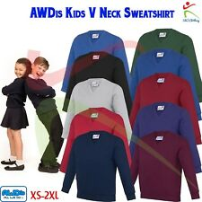 AWDis Kids Academy V-NECK Sweatshirt Soft Cotton Jersey Boys Girls School Jumper