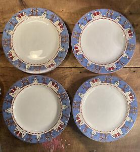 "Sakura Debbie Mumm Snowman 1997 Christmas Vintage Set of 4 Dinner Plates 10.75"""