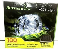 *Butterfly Love Rope Light Solar 28ft LED 100 Bright White LED