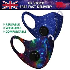 Space Galaxy Face Mask Protection Mouth Cover Washable Reusable Air Filter Valve
