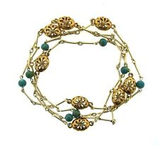 GORGEOUS 14k Yellow Gold, Silver & Arizona Turquoise Necklace