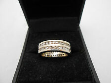 Stunning 2.00ctw 14k White Gold Double Row Diamond Full Eternity Band Ring 5.5