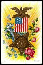 "1¢ WONDER'S ~ 1909 PATRIOTIC POSTCARD W/ ""G.A.R."" GOLD DECOR ~ V845"