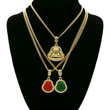 "14k Gold Plated  Plain, Green & Red Buddha 3 Pendant Set 30"" 30"" 24"" Cuban Chain"