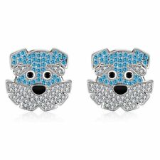 Buddy The Schnauzer Dog Sterling Silver Cz Stud Earrings Ginger Lyne Collection