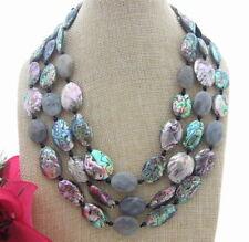 3Strands Natural Labradorite& Paua Abalone Shell& Onyx Necklace