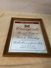 VINTAGE CRAWFORD'S IMPORTED SCOTCH WHISKY BAR MIRROR SIGN