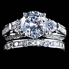 3-STONE ROUND BRILLIANT _CLEAR CZ WEDDING SET RINGS SZ-10__925 STERLING SILVER