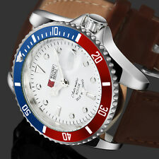 Military Royale Mens Watch Automatic Brown Leather Silver Case Date Special Army