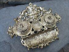 Vintage Brass Double Inkwell Desktop Stand Pen Holder All Ornate & Neptune Head