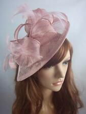 Heather Pink Sinamay & Feathers Teardrop Fascinator - Occasion Wedding Races Hat