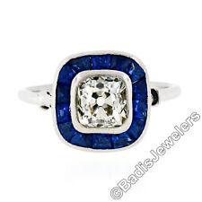 Antique Art Deco Platinum Bezel Cushion Mine Diamond Natural Sapphire Halo Ring