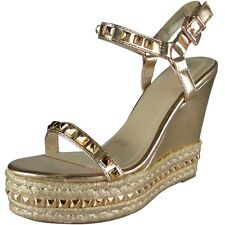 Womens Ladies Studded Ankle Strap Espadrilles Platform Shoes Wedge Sandals Size UK 6 / EU 39 / US 8 Rose Gold