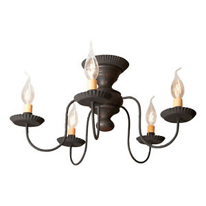 Irvin's Country Tinware Thorndale Ceiling Light in Hartford Black over Red